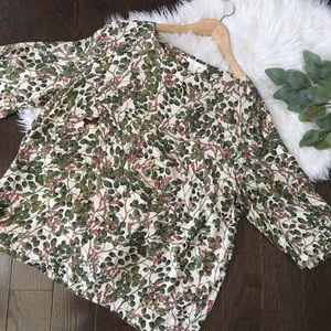 H&M Butterfly & Floral Print Blouse NWOT